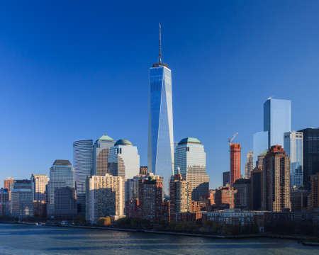 The Lower Manhattan skyline in New York City.  The One World Trade Centre dominates the skyline. Editorial