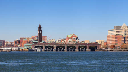 The Erie Lackawanna Terminal in Hoboken and the New Jersey waterfront as viewed from the Hudson River. Redakční