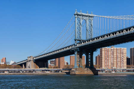 Manhattan Bridge.  A view of Manhattan Bridge in New York City.  The bridge spans the East River connecting the boroughs of Manhattan and Brooklyn.