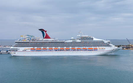 Carnival cruise ship Sunshine in Port Canaveral.  Carnival Sunshine, whose maiden voyage was in 1996, is owned by Carnival Cruise Lines.