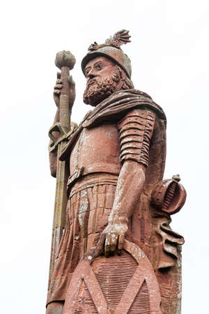 William Wallace Monument.  A close up picture of the red sandstone William Wallace monument located near Melrose in the Scottish Borders.  William Wallace was a Scottish knight. Editorial