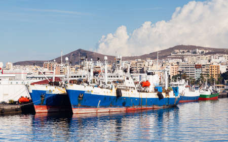 Ships are pictured docked in port Las Palmas de Gran Canaria, Spain. Editorial