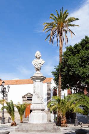 A monument to explorer Christopher Columbus located in Alameda de Colon, a small square in the city of Las Palmas De Gran Canaria.