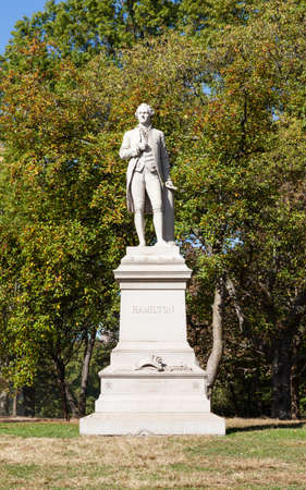 A view of the Alexander Hamilton Monument in Central Park, New York City.