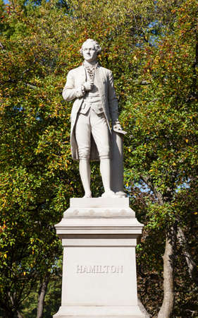 A view of the Alexander Hamilton Monument in Central Park, New York City. Stock Photo - 96023552
