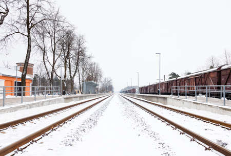 Snow Covered Railway Track.  The view along a snow covered railway track in Sigulda, Latvia. Stock Photo
