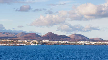 The view towards the resort of Costa Teguise on the Spanish Canary Island of Lanzarote.