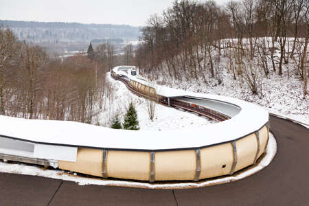 A close up picture of Sigulda bobsleigh, luge and skeleton track.  Sigulda is a town in Latvia.