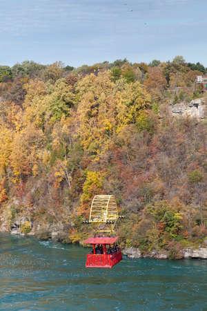 A view of the Niagara Cable Car above the Niagara Whirlpool, Canada.