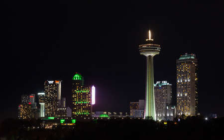 A night time view across the Niagara Falls skyline in Canada.