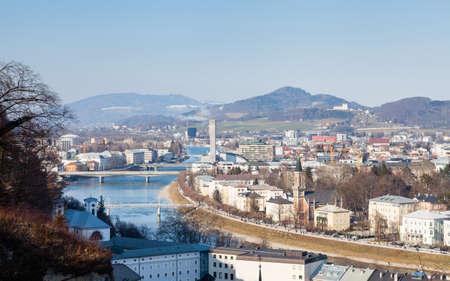 Salzburg New Town.  The view across the Salzach River towards Salzburg New Town in Austria.