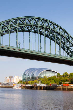 The landmark Sage viewed from beneath the Tyne Bridge in Newcastle upon Tyne, England.  The Sage is a centre for musical education and performance.