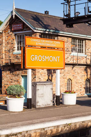 The destination sign for Grosmont Station on the North Yorkshire Moors Railway in North England. 報道画像