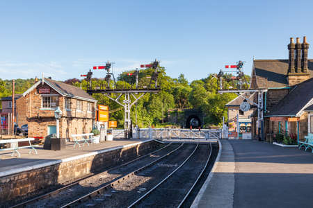 The view along the platform of Grosmont Station, on the North Yorkshire Moors Railway in North East England.