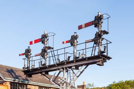 An historic semaphore signal in the stop  danger position on the North Yorkshire Moors Railway in the North of England. 報道画像
