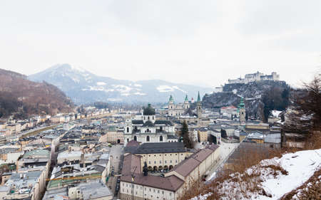 The view across Salzburgs Old Town with the Collegiate Church in the foreground.