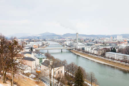 The view across the Salzach River towards Salzburg New Town in Austria.
