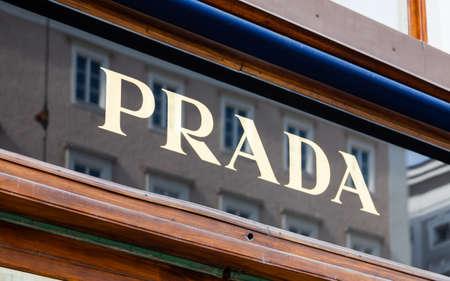 The Prada nameplate outside a shop in Salzburg, Austria.  Prada is an international Italian luxury clothing company.