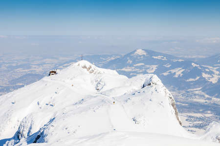 Untersberg Summit.  The view from the summit of Untersberg mountain in Austria looking towards the cable car station.  The mountain straddles the border between Germany and Austria. 写真素材