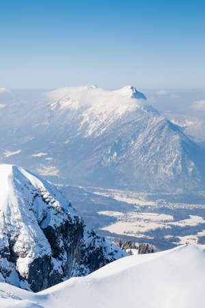 The view from the summit of Untersberg mountain in Austria.  Untersberg straddles the German border and two mountains, Zwiesel in Bavaria, Germany and Staufen in Austria can be seen in the background. 写真素材
