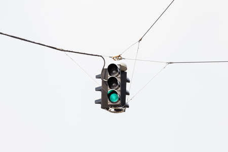 A snow covered suspended green traffic light is pictured in mid winter in Salzburg, Austria.
