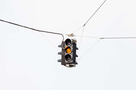 A snow covered suspended amber traffic light is pictured in mid winter in Salzburg, Austria.