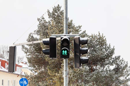A snow covered green light is displayed on a pedestrian crossing in Salzburg, Austria.