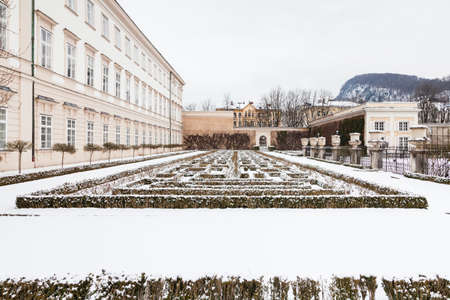 A mid winter view across Mirabell Gardens in Salzburg, Austria.