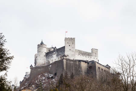 A close up mid winter view of Hohensalzburg Fortress, Salzburg, Austria.  The fortress sits atop the Festungsberg a small hill. 報道画像