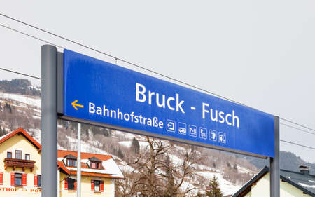The destination sign for Bruck - Fusch Station in the state of Salzburg in Austria.  Bruck and Fusch are both municipalities in the district of Zell am See. Zdjęcie Seryjne