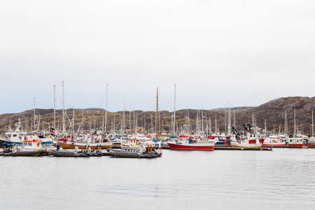 Boats are pictured moored in the harbour of Bodo, Norway.