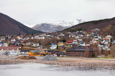 The Ornes waterfront in Norway.  Ornes is a village in the county of Nordland, Northern Norway.
