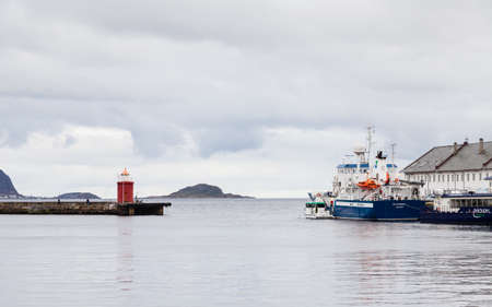 Gateway to the port town of Alesund in western Norway.  The research / survey vessel Hydrograf can be seen moored on the quayside. Redactioneel