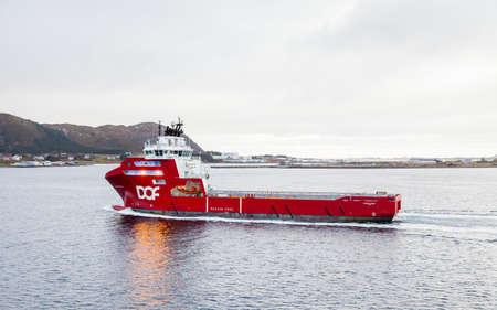 Supply vessel, Skandi Gamma, is pictured in Alesund, Norway.  Alesund is a port town on the west coast of Norway.