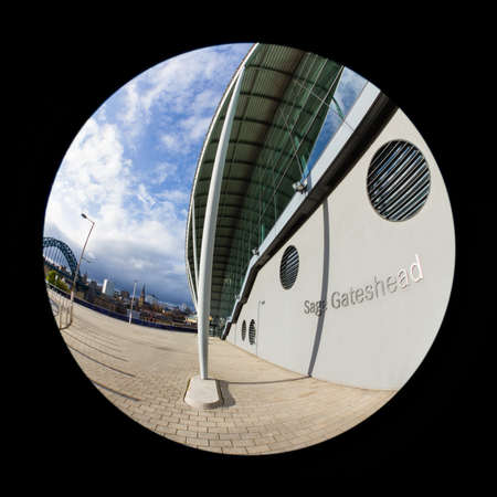 A fish eye view of the entrance to The Sage, Gateshead in North East England.  The Sage is a centre for musical education and performance.