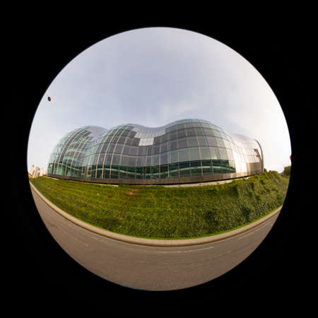 A fish eye view of the Sage, Gateshead, a centre for musical education and performance. Redactioneel