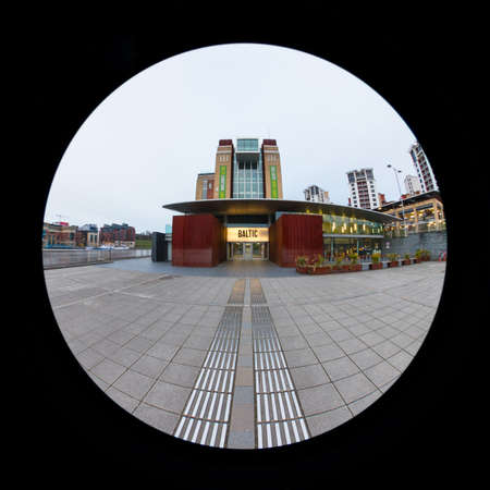 A fish eye view of the entrance to The Baltic Centre for Contemporary Art.  The centre is a converted flour mill in Gateshead, northern England on the banks of the River Tyne.