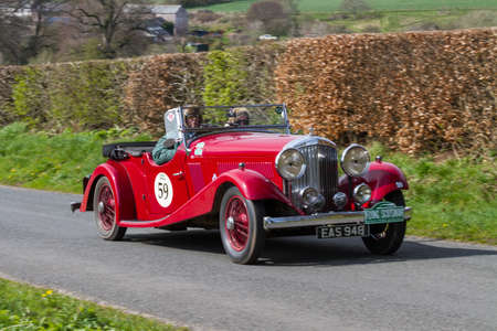 A 1935 Bentley Derby VDP climbs Southwaite Hill in Cumbria, northern England.  The car is taking part in the 11th Flying Scotsman Rally, a free public-event.