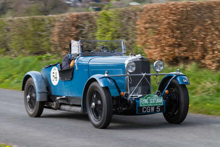 A 1934 Talbot AV105 climbs Southwaite Hill in Cumbria, northern England.  The car is taking part in the 11th Flying Scotsman Rally, a free public-event.