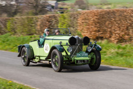 A 1933 Talbot 105 Brooklands climbs Southwaite Hill in Cumbria, England.  The car is taking part in the 11th Flying Scotsman Rally, a free public-event.
