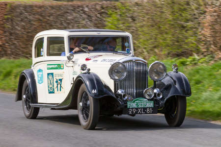 A 1934 Bentley 3.5 climbs Southwaite Hill in Cumbria, northern England.  The car is taking part in the 11th Flying Scotsman Rally, a free public-event.