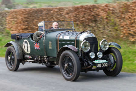 A 1929 Bentley 4.5 climbs Southwaite Hill in Cumbria, northern England.  The car is taking part in the 11th Flying Scotsman Rally, a free public-event.