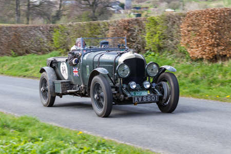 A 1928 Bentley 4.5 climbs Southwaite Hill in Cumbria, northern England.  The car is taking part in the 11th Flying Scotsman Rally, a free public-event.