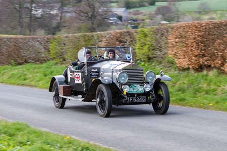 A 1924 Rolls Royce Boat Tailored Roadster climbs Southwaite Hill in Cumbria, northern England.  The car is taking part in the 11th Flying Scotsman Rally, a free public-event.