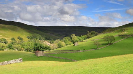 The Swaledale countryside in the Yorkshire Dales National Park in Northern England.  The picture was taken close to the village of Keld.
