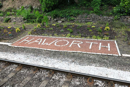 A banner welcomes visitors to Haworth Station on the Keighley and Worth Valley Railway in northern England.  The railway was used in the film the Railway Children.