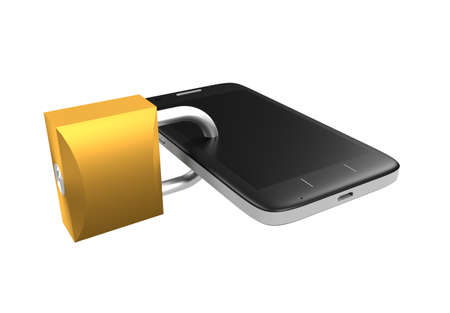 secured: Secured phone 3d rendering Stock Photo