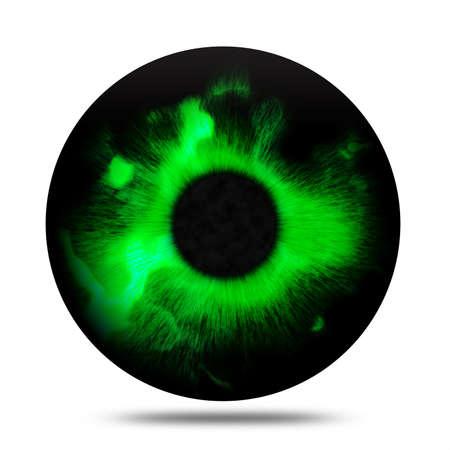 green eye: Isolated abstract fantasy magic green eye pupil
