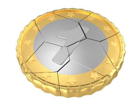 cracked: Isolated cracked one coin concept 3d render Stock Photo
