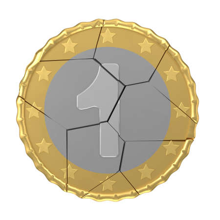 orthographic: Isolated cracked one coin concept 3d orthographic render Stock Photo